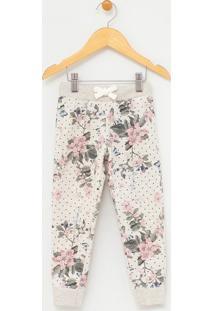 Calça Infantil Em Moletom Estampa Floral - Tam 1 A 4