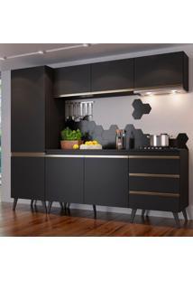 Cozinha Compacta Cora 7 Pt 3 Gv Preta