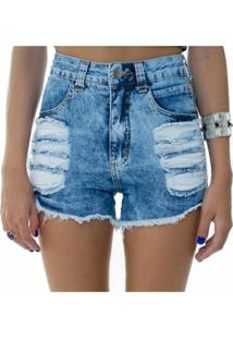 Shorts Jeans Lady Rock Hot Pants Destroyed Azul