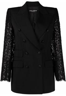 Dolce & Gabbana Blazer Com Renda Nas Mangas - Preto