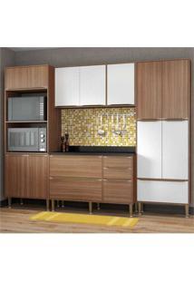 Cozinha Completa Multimóveis Com 5 Peças Calábria 5452 Nogueira/Branco