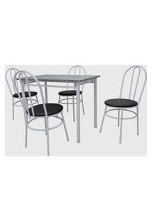 Conjunto Cozinha Munique Mesa 100Cm Granito C/ 04 Cadeiras Milla Branco Preto Açomix