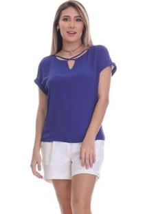 Blusa Clara Arruda Decote Cruzado Feminina - Feminino-Azul Royal