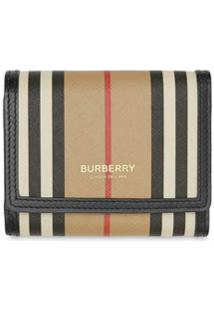 Burberry Carteira Icon De Canvas Com Listras - Neutro
