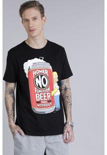 a281d729b Camiseta Masculina Homer Simpson Manga Curta Gola Careca Preta