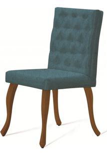Cadeira Copas Capitone Azul Base Castanho - 50543 - Sun House