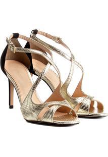 Sandália Shoestock Salto Fino Party Feminina - Feminino-Dourado