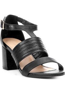 Sandália Couro Shoestock Salto Bloco Straps Feminina - Feminino-Preto