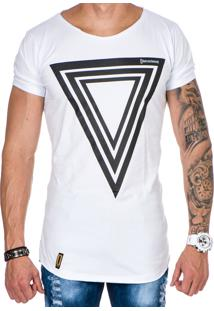 Camiseta Lucas Lunny Oversized Longline Triângulo Branca