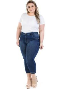 02c0d27ada51a3 Netshoes Calça Feminina Dumont Conforto Jeans Capri Plus Size Curta  Confidencial - Extra