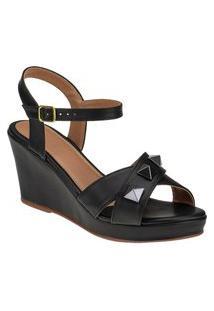 Anabela Sandalia Feminina Spaike Preto Joys Shoes