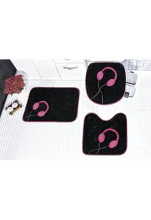 Jogo De Banheiro Fone 3 Pçs Pink Guga Tapetes