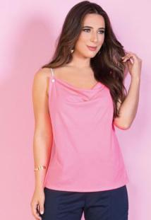 Blusa Pink Neon Com Alça De Cordas