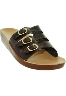 Chinelo Birken Cafe Conforto Fivelas Feet Life 55281021