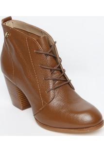Ankle Boot Em Couro Com Amarração - Marrom - Salto: Jorge Bischoff