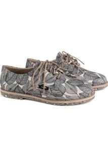 Sapato Oxford Feminino Vegano Estampado Tropical Conforto Branco - Kanui