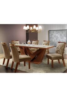 Conjunto Sala De Jantar Mesa Tampo Mdf E 6 Cadeiras Apolo Tik Plus Siena Móveis Castanho Premio/Caramelo