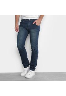 Calça Jeans Skinny Preston Estonada Masculina - Masculino-Azul Escuro