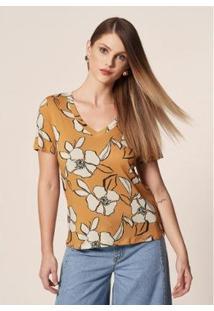 Camiseta Mob Malha Floral Bicolor Dijon Feminina - Feminino-Amarelo