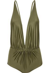 Body Rosa Chá Louise Military Green Beachwear Verde Feminino (Capulet Olive, P)