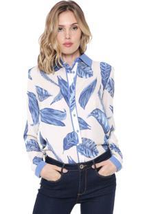 Camisa Enna Folhagens Off-White/Azul