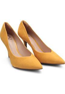 Scarpin Couro Dumond Salto Alto Bico Fino - Feminino-Amarelo