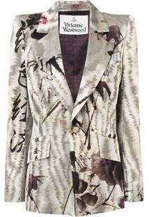 Vivienne Westwood Blazer Slim Com Bordado - Neutro