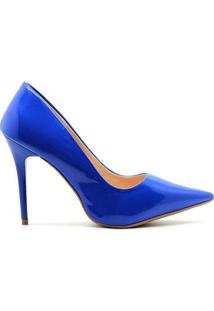Scarpin Royalz Verniz Salto Alto Fino Penélope Feminina - Feminino-Azul