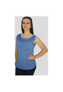 Blusa C/ Franja No Decote Tomasini Tricot Primavera/Verão Azul