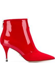 Paul Andrew Ankle Boot 'Citra' De Couro - Vermelho