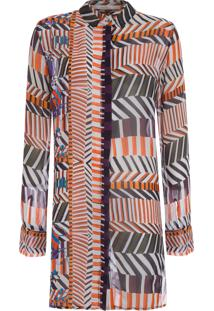 Camisa Feminina Longa Localizada Batik - Laranja