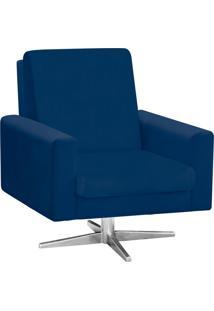 Poltrona Decorativa Beatriz Suede Azul Marinho Com Base Giratória Estrela Aço Cromado - D'Rossi