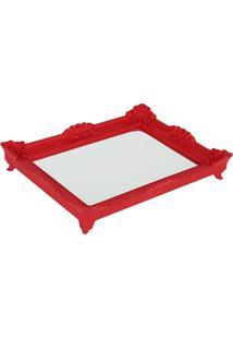 Bandeja Espelho Rococó Red M6X39X28 Cm Trevisan Concept