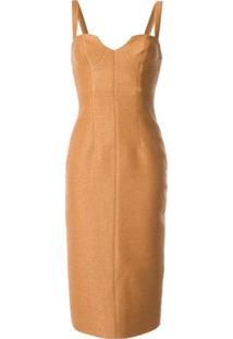 Manning Cartell Vestido Decote U - Marrom