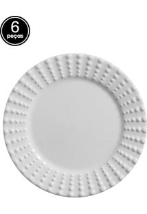 Conjunto 6 Pratos Sobremesa Perles Branco Scalla