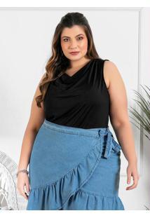 Blusa Plus Size Preta Sem Mangas Com Gola Boba