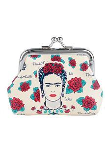 Porta Moedas Frida Kahlo Face Skull, Urban, Branco