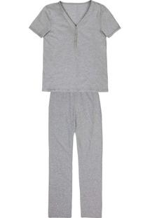 Pijama Feminino Em Malha De Algodão Com Peitinho Funcional