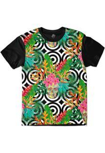 Camiseta Bsc Padrões E Listras Caveiras E Plantas Sublimada Masculina - Masculino