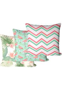Kit Com 3 Capas Para Almofadas Floral Flamingo 35X35Cm - Multicolorido - Dafiti