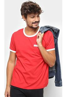 Camiseta Manga Curta Coca-Cola Estampada Masculina - Masculino-Vermelho