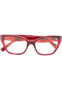 Valentino Eyewear Óculos De Sol Com Aplicações - Vermelho