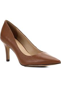 Scarpin Couro Shoestock Salto Médio Bico Fino - Feminino-Marrom Claro