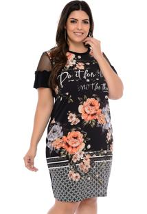 Vestido Elegance All Curves Plus Size Preto Sublimado Flores Laranja