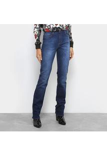 Calça Jeans Slim Forum Marisa Estonada Escura Cintura Alta Feminina - Feminino-Jeans