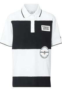 Burberry Camisa Polo Oversized Com Listras E Aplicação De Logo - Branco