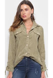 Camisa Manga Longa Adooro Veludo Cotelê Botões Amarração Feminina - Feminino-Verde