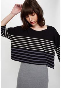 Blusa Listrada Tricolor Preto C/ Branco - P