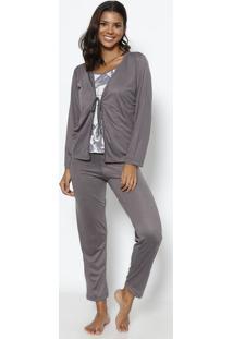 Pijama Xadrez- Cinza Escuro & Branco- Zulaizulai