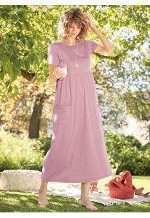 Vestido Longuete Com Bolsos Laterais Rosé